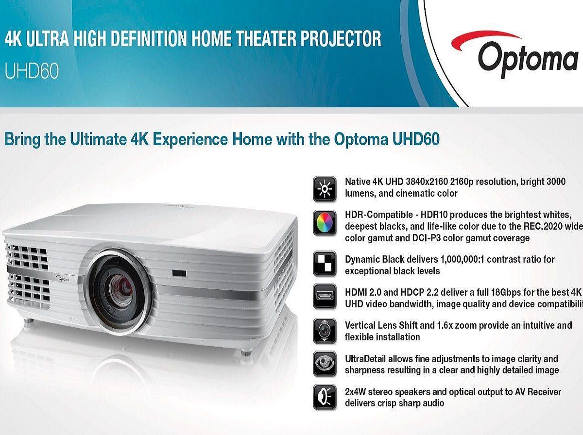 Optoma Announces UHD60 & UHD65 4K Projectors - Somason
